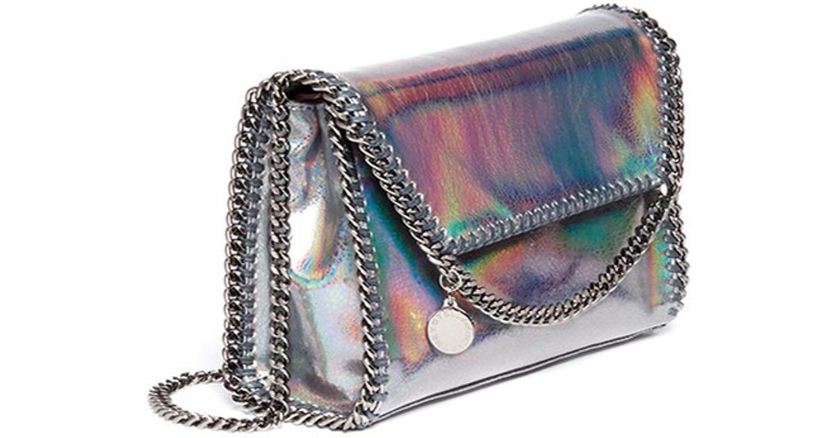 Stella McCartney  falabella  Mini Holographic Cracklé Chain Bag in Metallic  - Lyst 229e1e0559a5f