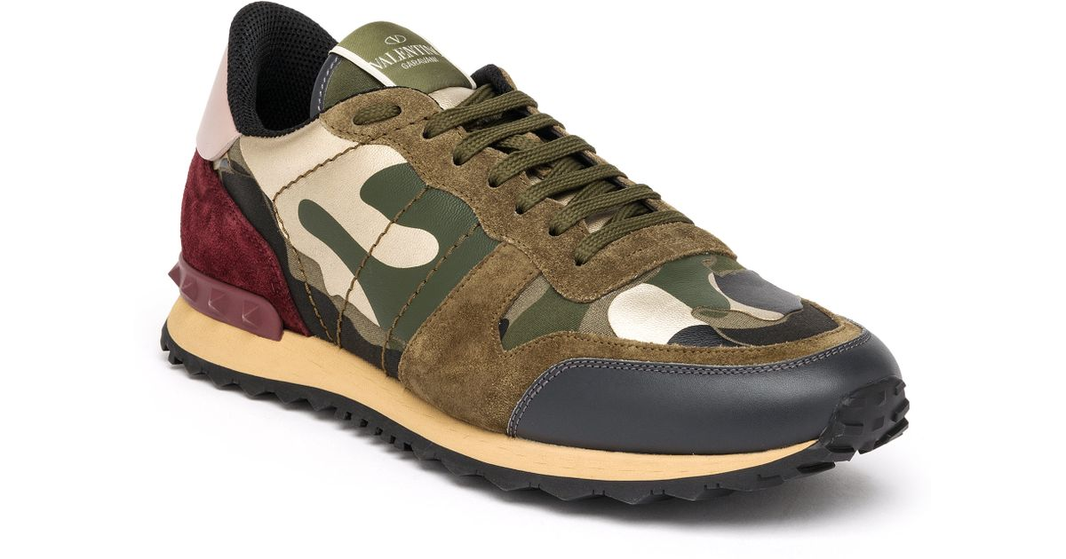 65bbf7fd13626 Valentino Rockrunner Camouflage Sneakers in Green for Men - Lyst