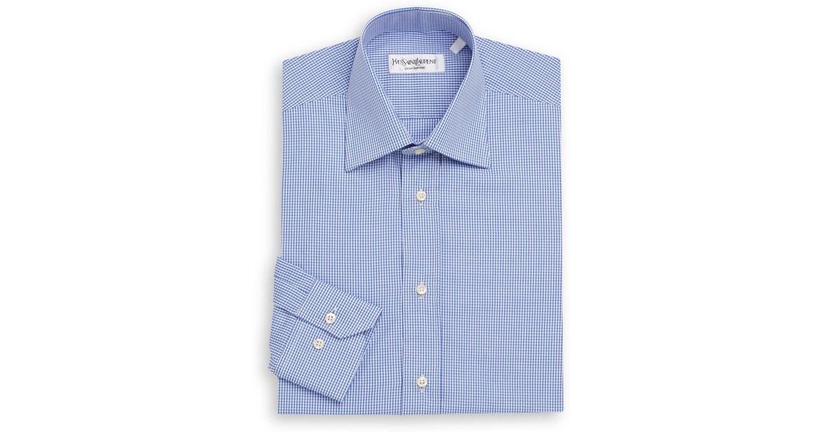 Saint laurent regular fit gingham check dress shirt gift for Mens gingham dress shirt