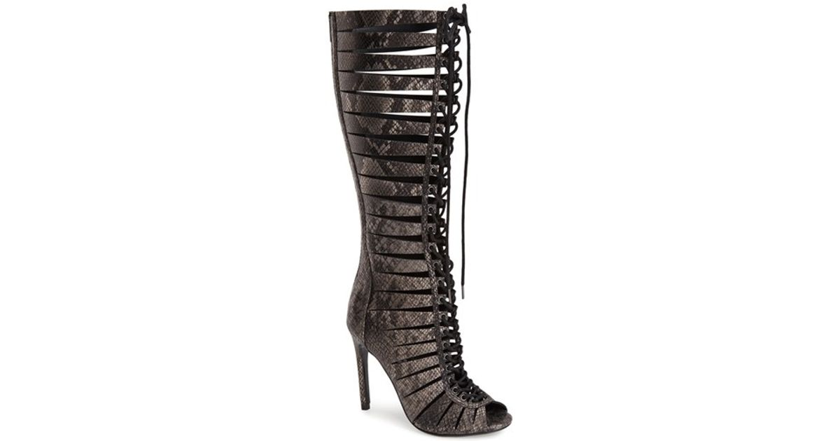 eaeabb8aaf6 Steve Madden Black 'Cryptic' Lace-Up Tall Gladiator Sandal