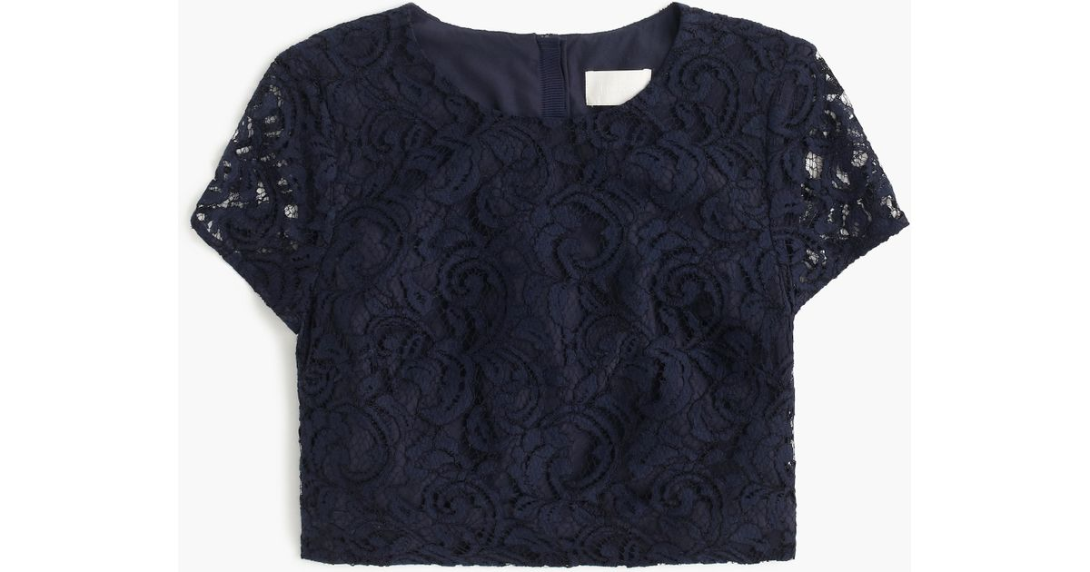 J.crew Floral Lace Short-sleeve Crop Top In Blue (navy)
