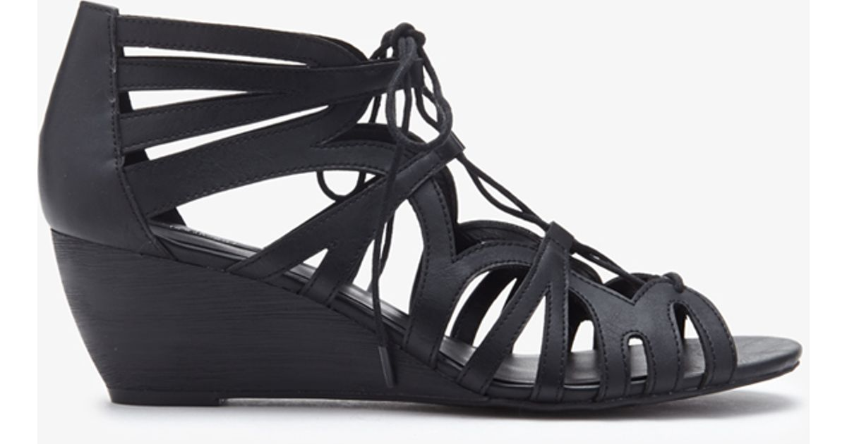 Lyst - Forever 21 Lace-up Wedge Sandals in Black 7f1939664739