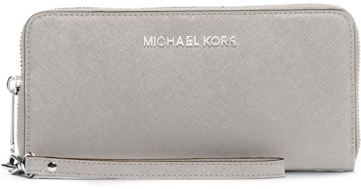 eb8de8054295 michael kors jet set travel perforated-leather continental wristlet black