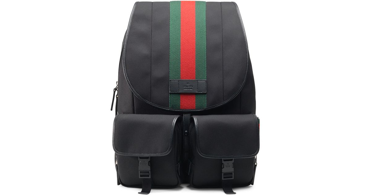 d14fb62a109 Lyst - Gucci Web Canvas Backpack Fanny Pack in Black for Men