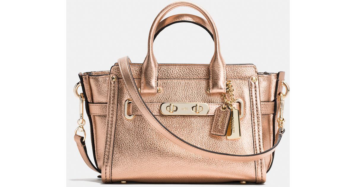 3838df3e3363f COACH Swagger 20 In Metallic Pebble Leather in Pink - Lyst