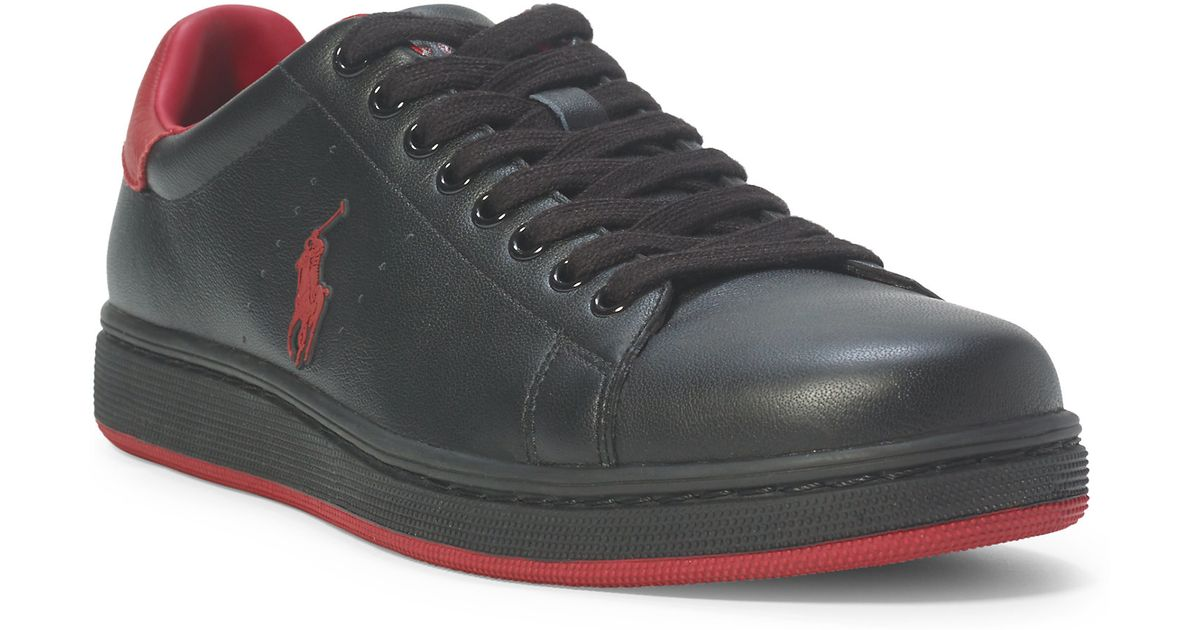 polo ralph lauren whickham leather sneaker in black for men lyst. Black Bedroom Furniture Sets. Home Design Ideas