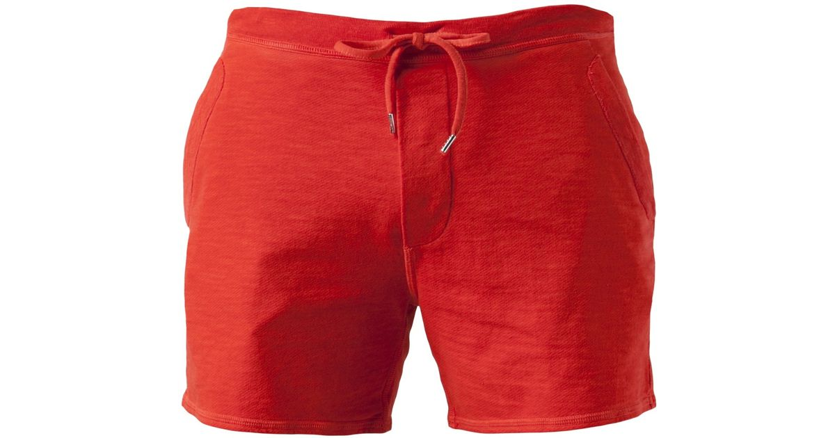 Dsquared 178 Terry Cloth Shorts In Yellow Amp Orange Red For