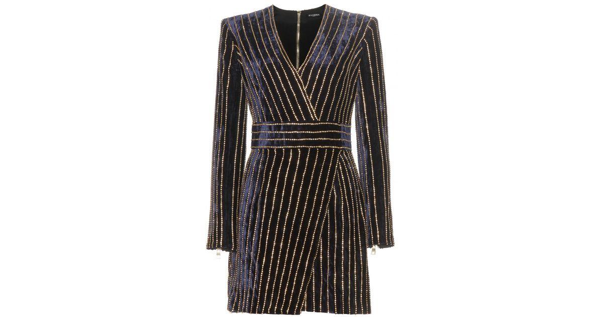 03c287301b Balmain Crystal-Embellished Velvet Mini Dress in Blue - Lyst
