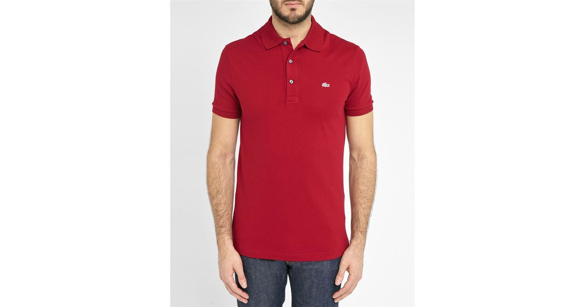 lacoste burgundy logo slim fit polo shirt in red for men. Black Bedroom Furniture Sets. Home Design Ideas