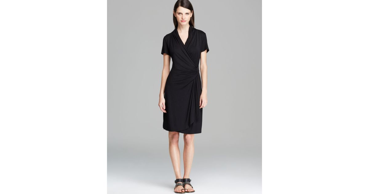 Lyst Karen Kane Short Sleeve Cascade Wrap Dress In Black