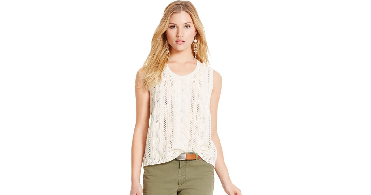 Lyst Polo Ralph Lauren Cable Knit Sleeveless Sweater In Natural