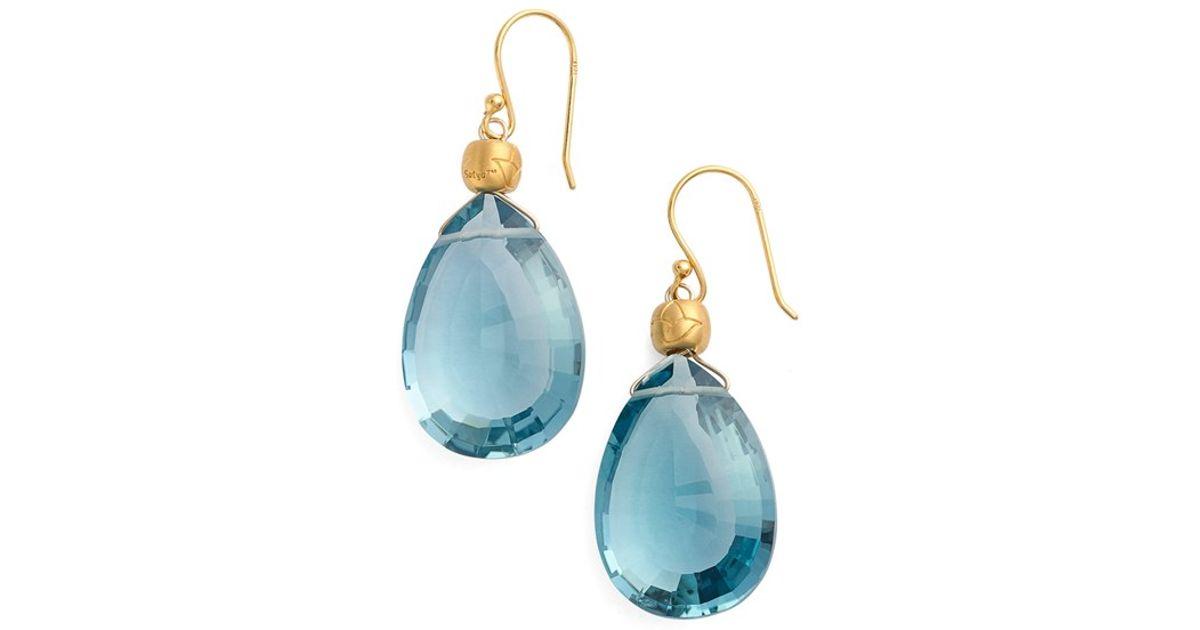 Satya Jewelry Blue Semiprecious Stone Drop Earrings