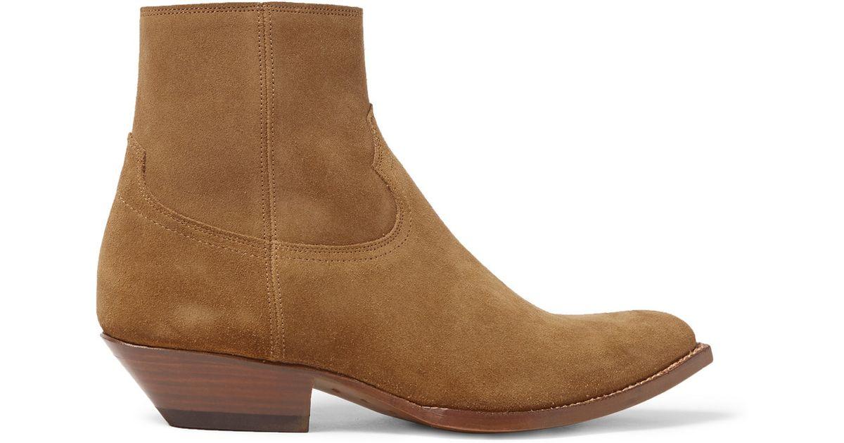 ded5a241b3a Saint Laurent Brown Suede Cowboy Boots for men