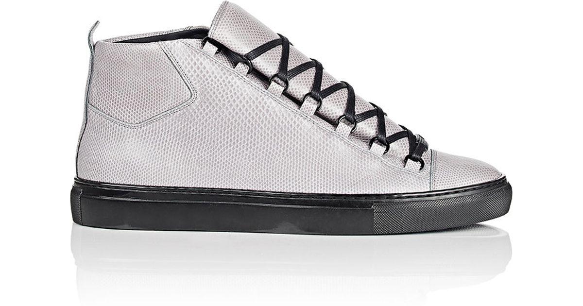 Balenciaga Arena For Men Gray Snakeskin High Top Sneakers qSMVLpUzG