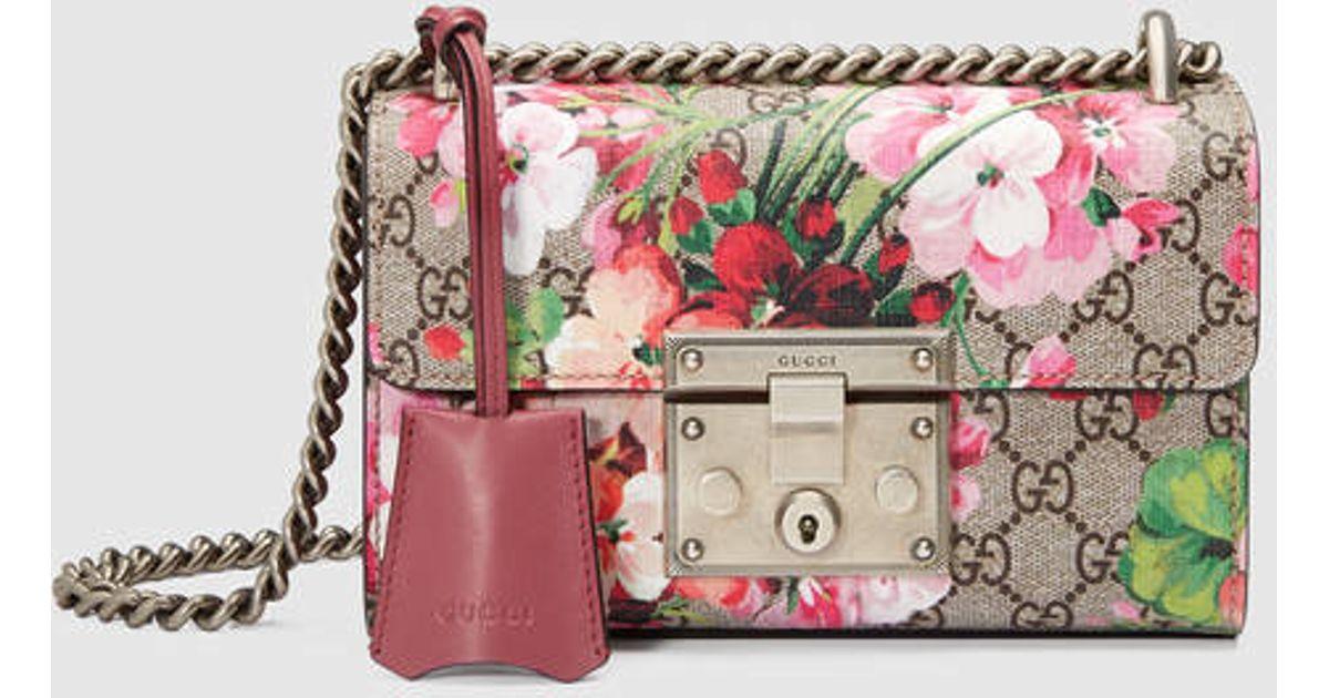 f6fcdc5fb25f96 Gucci Padlock Blooms Shoulder Bag - Lyst
