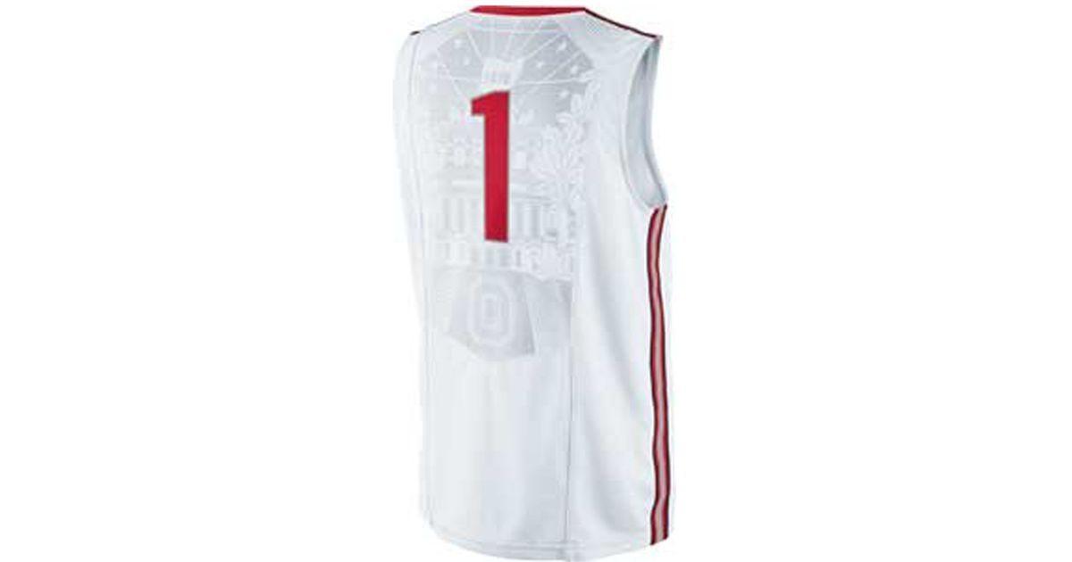 d04664c774f ... lyst nike mens ohio state buckeyes basketball jersey in white for men