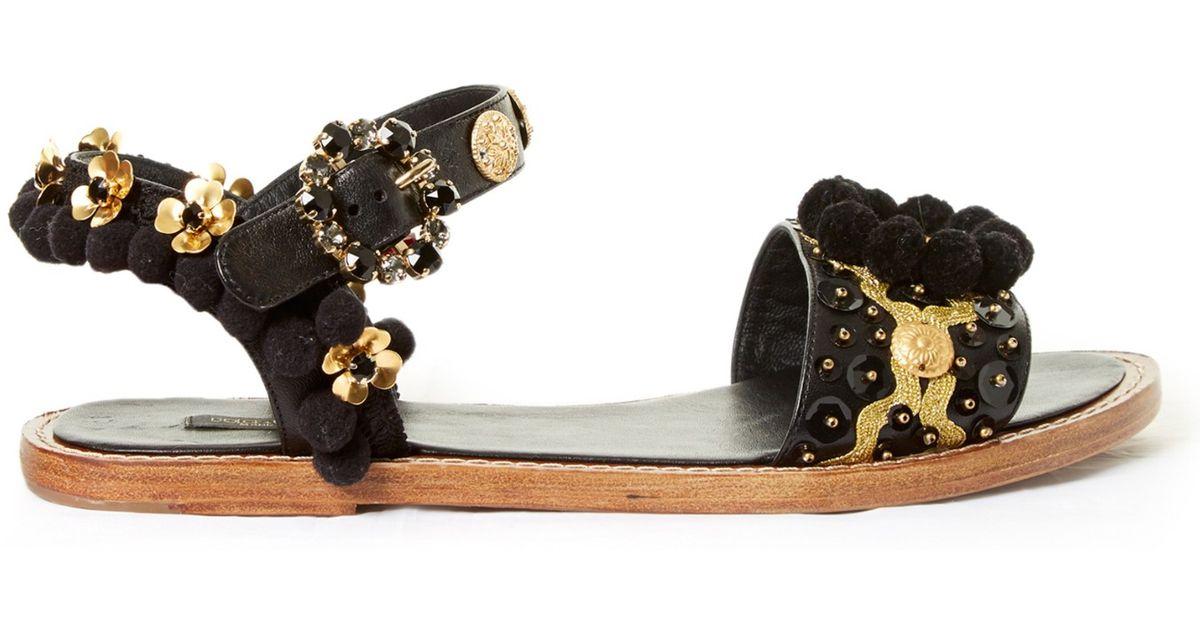 a84f75f28 Dolce & Gabbana Pompom-embellished Leather Sandals in Black - Lyst