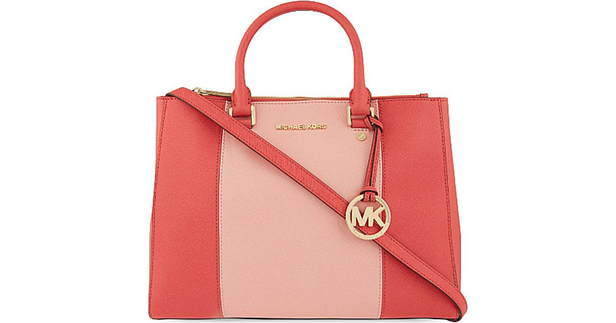 eebb4e1ef5ed MICHAEL Michael Kors Sutton Large Striped Saffiano Leather Satchel Bag -  For Women in Pink - Lyst