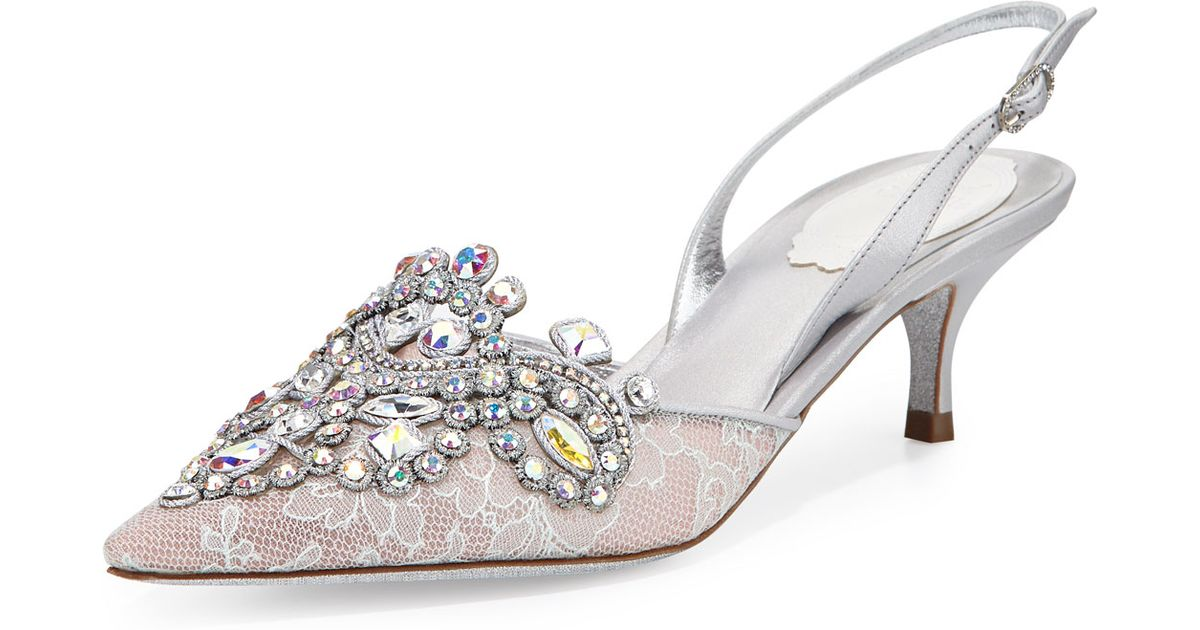 Lyst - Rene caovilla Jeweled Lace Slingback Pumps in Metallic