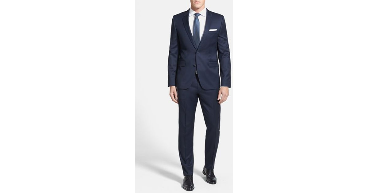 4635726e HUGO 'aeron/hamen - Super Navy' Extra Trim Fit Wool Suit in Blue for Men -  Lyst