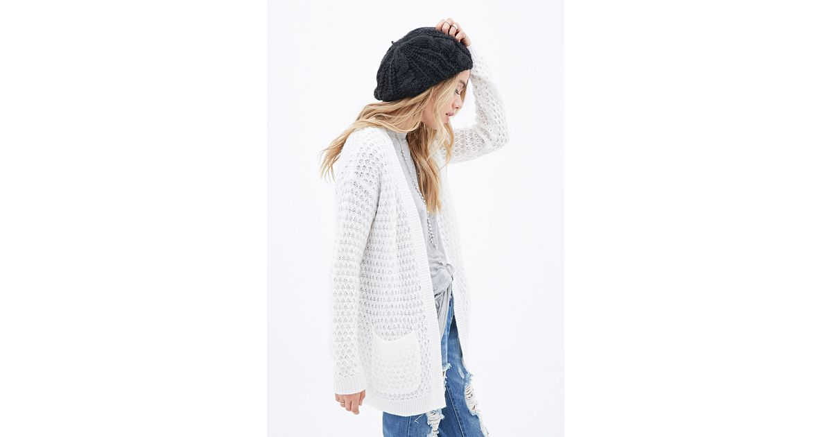Forever 21 Slouchy Open-knit Cardigan in White | Lyst