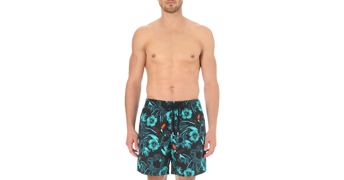 f9362ab600 Vilebrequin Moorea Hibiscus And Toucan-Print Swim Shorts - For Men in Blue  for Men - Lyst
