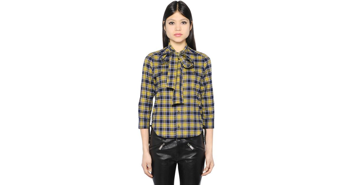 Lyst dsquared plaid shirt in blue for Blue and yellow plaid dress shirt