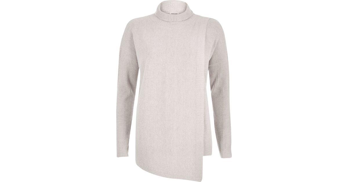 7b28d45ab57 River Island Natural Oatmeal Beige Asymmetric Knitted Jumper Oatmeal Beige  Knitted Ribbed Midi Tube Skirt