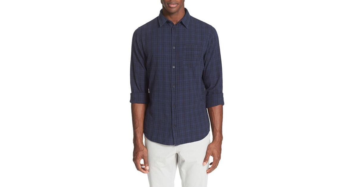 10c36e15212 Lyst - Norse Projects  anton  Trim Fit Plaid Cotton   Linen Sport Shirt in  Blue for Men
