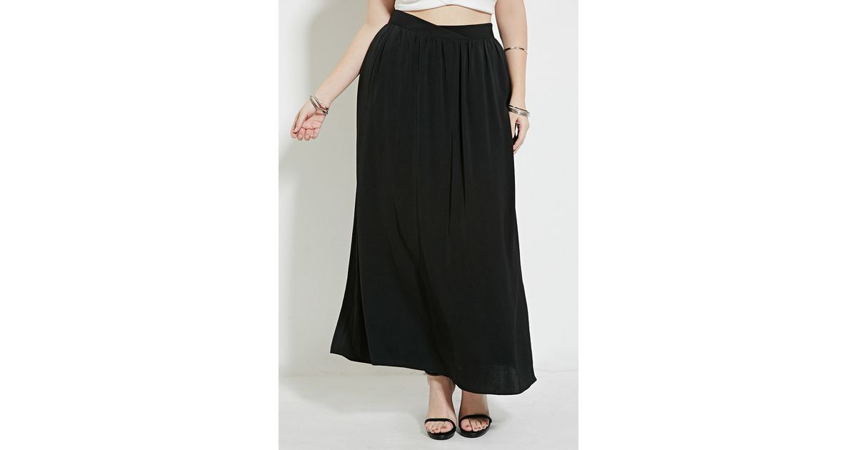 forever 21 plus size belted maxi skirt in black lyst