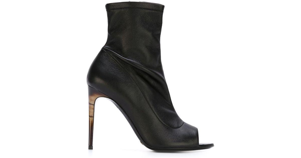 e37c384d5fd Lyst - Burberry Prorsum Peep Toe Booties in Black