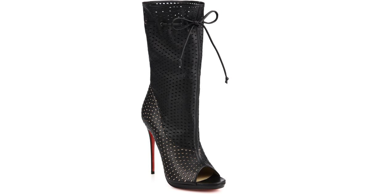 check out a7ff2 acc15 Christian Louboutin - Black Jennifer Perforated Leather Open-Toe Boots -  Lyst