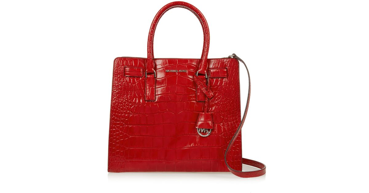 48952b28933b MICHAEL Michael Kors Dillon Large Croc-Effect Leather Tote in Red - Lyst