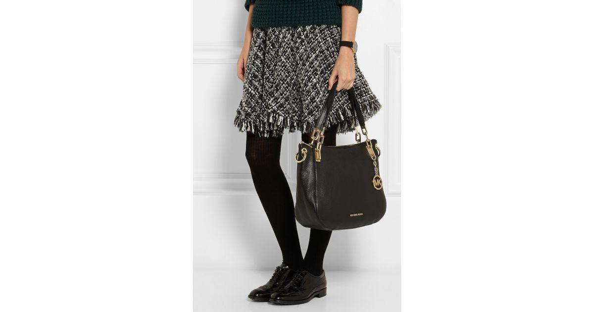 137ccf530538 MICHAEL Michael Kors Brooke Large Textured-Leather Shoulder Bag in Black -  Lyst