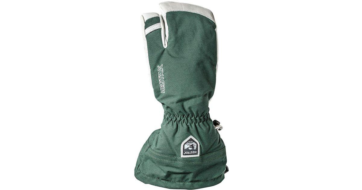 Hestra Army Leather Heli 3 Finger Glove In Bottle Green Green