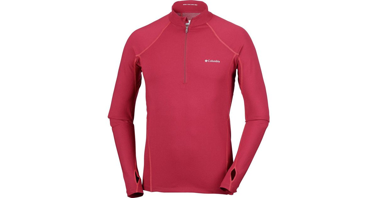 Columbia Men Midweight Stretch Long Sleeve Baselayer Shirt Top Beet//Red Spark