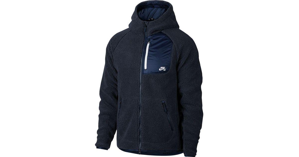 classic hot product designer fashion Nike Blue Sb Everett Sherpa Full-zip Hoodie for men