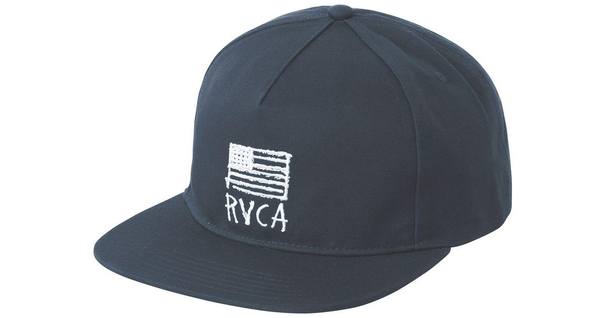 aed127ab24394 ... usa rvca parrots unstructured mens snapback hat lyst rvca flags  unstructured hat in blue for men