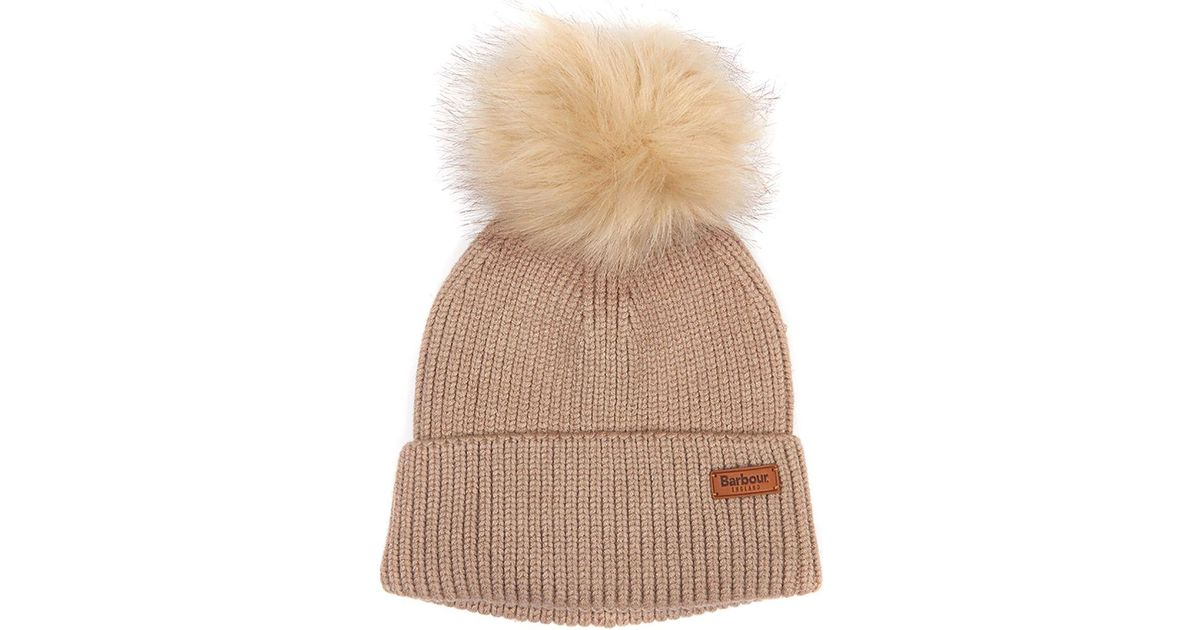 Lyst - Barbour Dover Pom Beanie in Brown e350c66cc4c