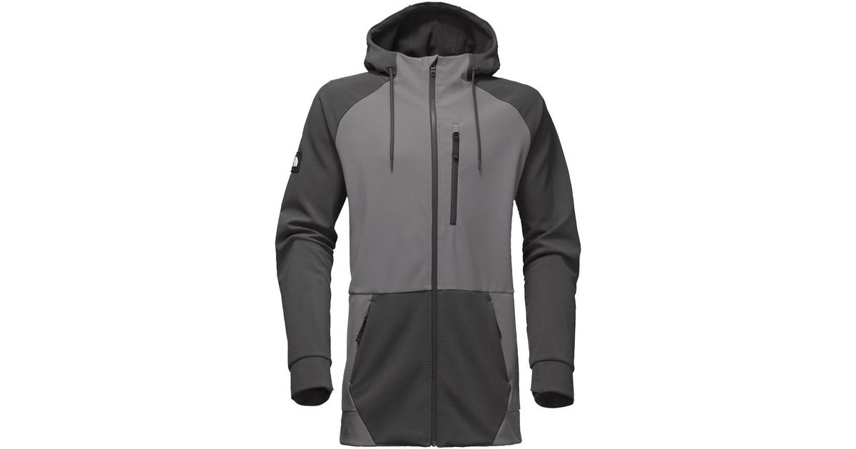 a413fd3b1b4b ... sweden lyst the north face longtrack softshell full zip hoodie in gray  for men fd59a e2e09