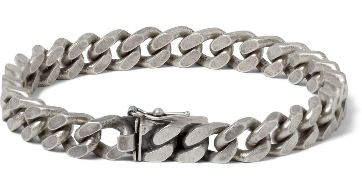 Lyst Saint Lau Burnished Sterling Silver Chain Bracelet In Metallic For Men