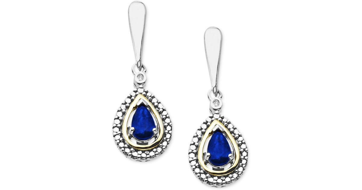 macy 39 s 14k gold and sterling silver earrings gemstone 3