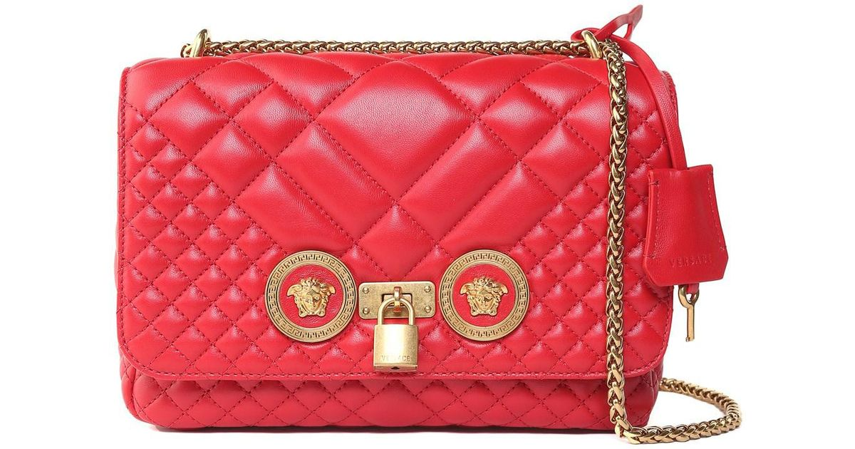 5887aee445dd Versace Icon Quilted-leather Shoulder Bag in Red - Lyst