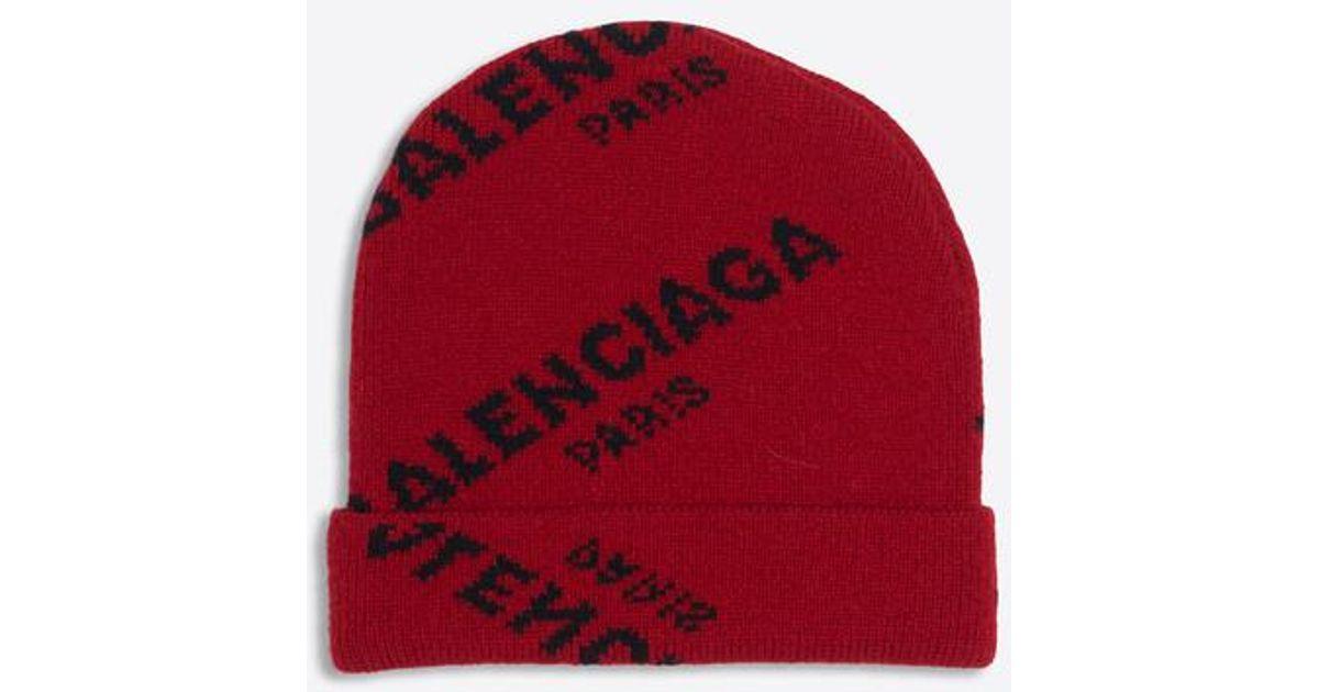 53714aab Balenciaga Jacquard Logo Beanie in Red - Lyst