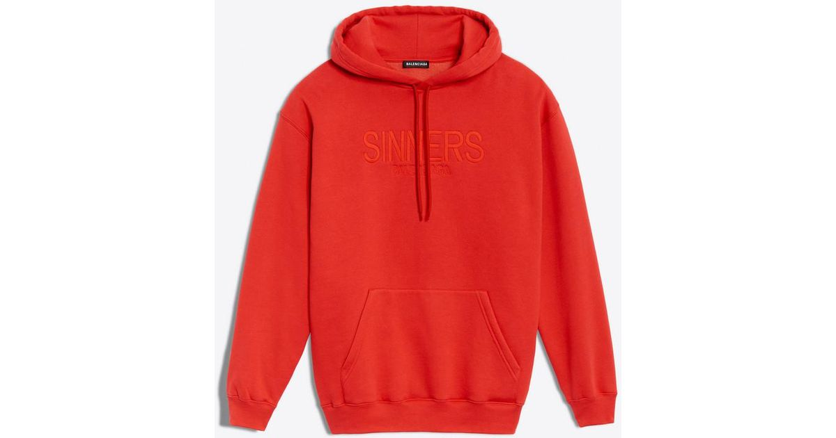 timeless design shades of on wholesale Balenciaga Red Hoodie Sweater 'sinners' for men