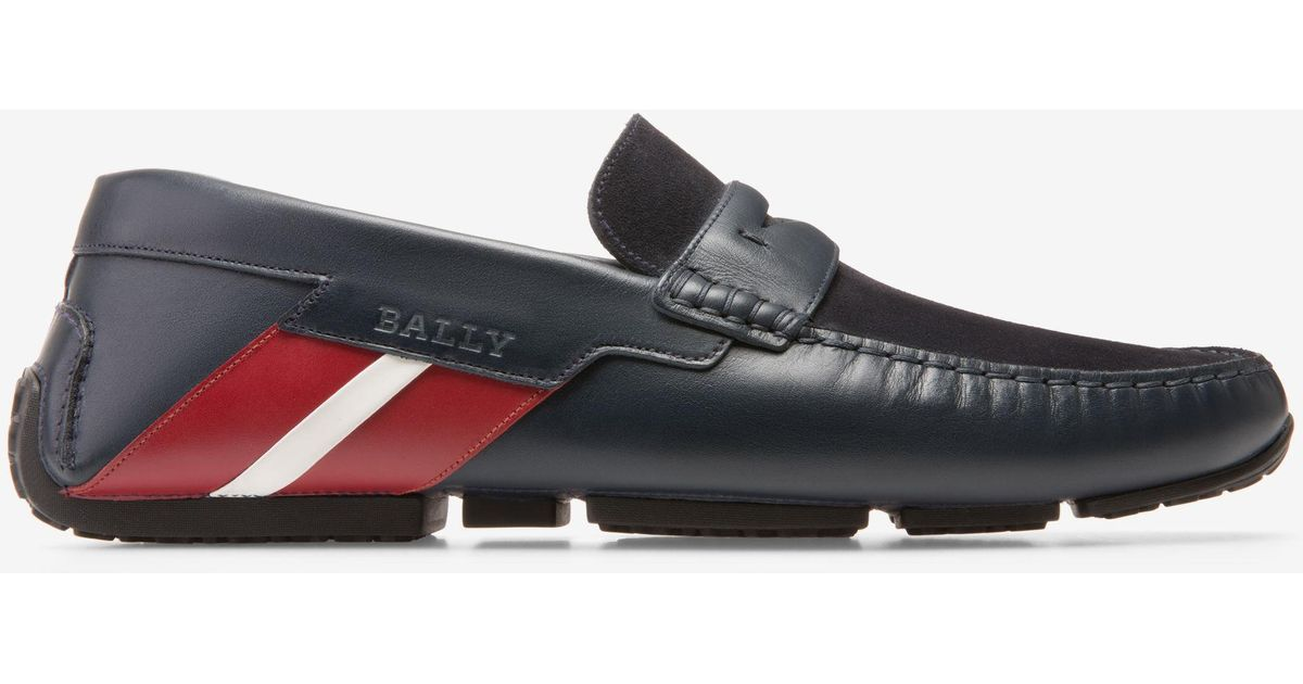 Piotre Black, Mens calf leather and suede driver in black Bally