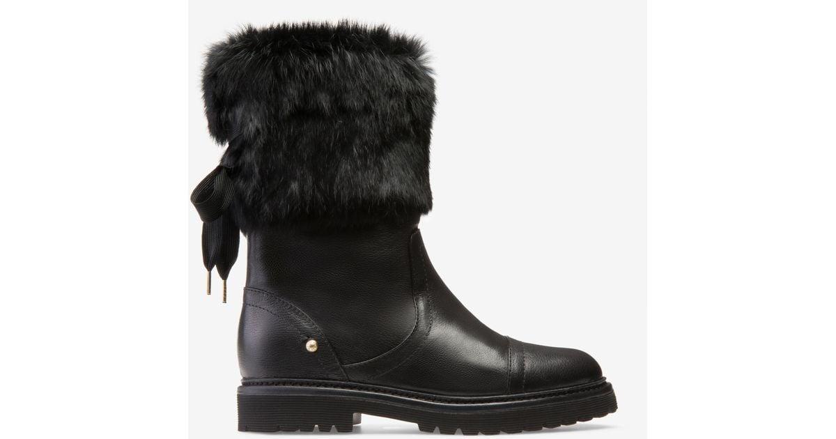 Midori Black, Womens lamb leather boot in black Bally