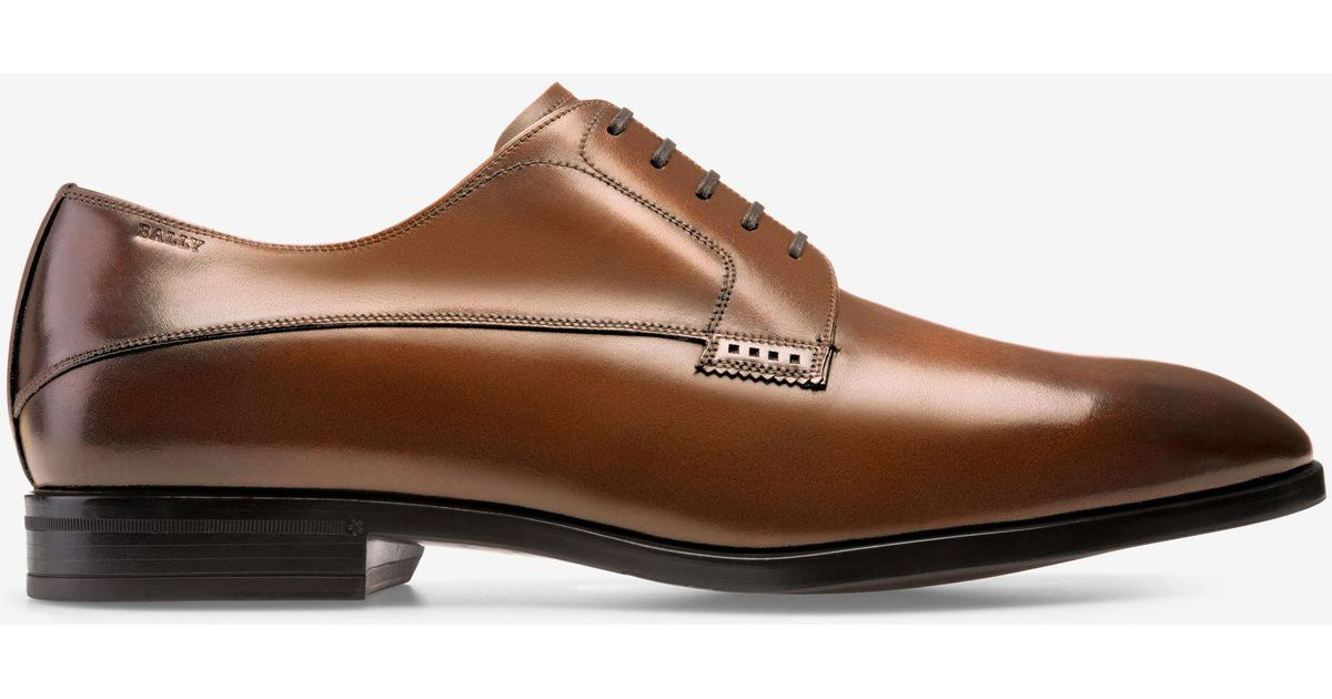 Lantel Brown, Mens brushed calf leather Derby shoe in mid brown Bally