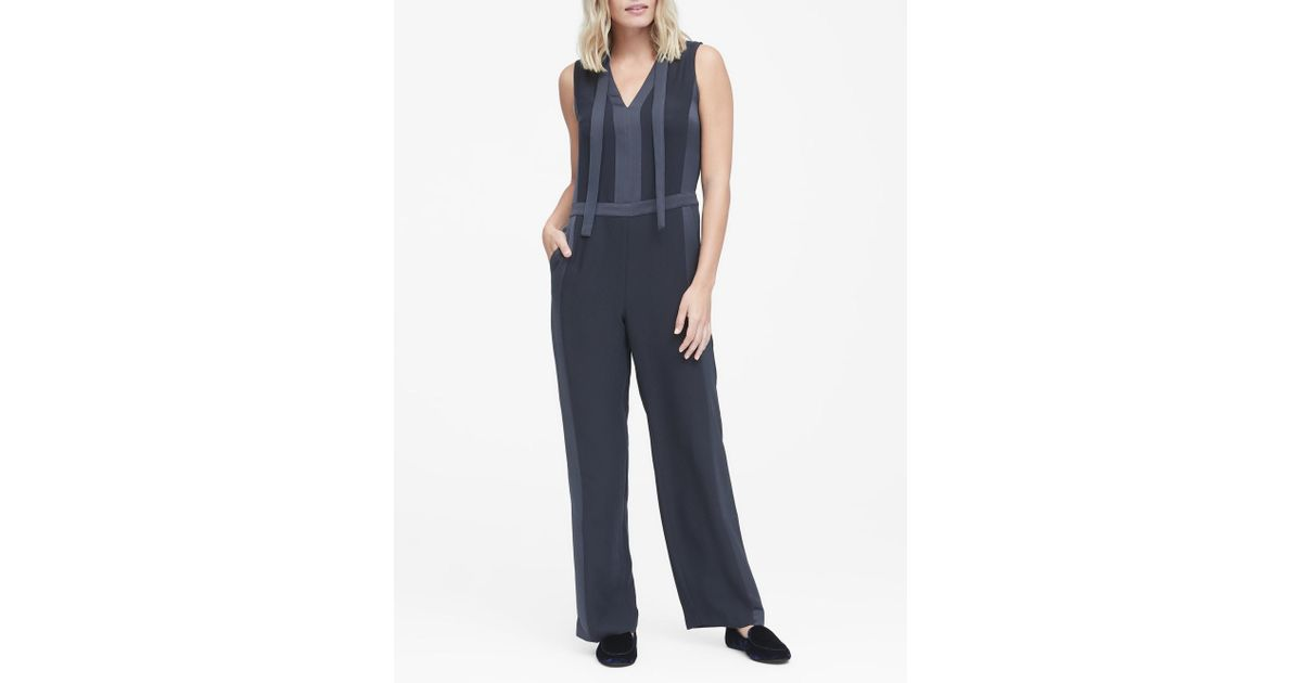 f3a3718f294 Lyst - Banana Republic Tie-neck Tuxedo Jumpsuit in Blue