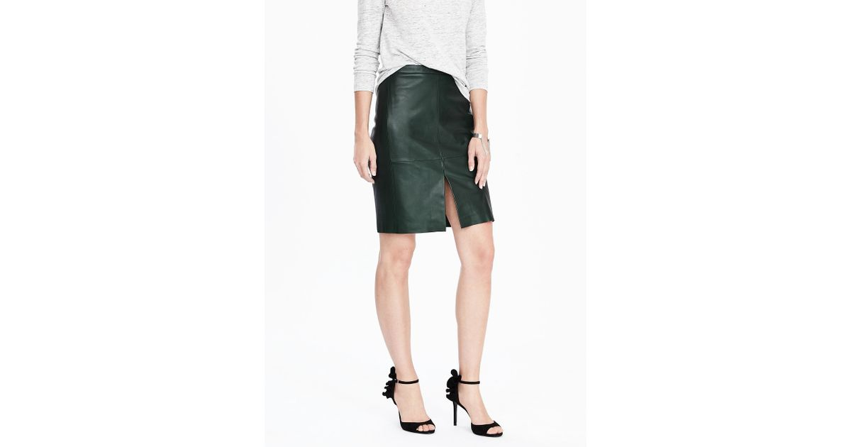 banana republic leather pencil skirt in green lyst